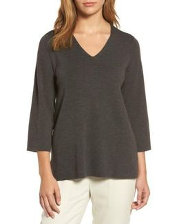 Merino Wool V-neck Top
