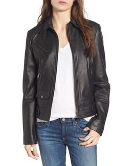 Front Zip Leather Moto Jacket