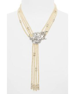 Faux Pearl Tassel Y-necklace