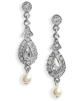 Imitation Pearl & Crystal Drop Earrings
