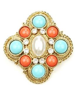 Faux Pearl Center Brooch