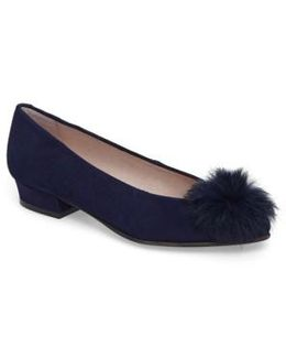 Sandy Flat With Genuine Rabbit Fur Pom