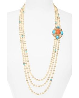 Adriatic Sea Multisrand Imitation Pearl Necklace