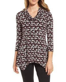 Handkerchief Hem Dot Print Top