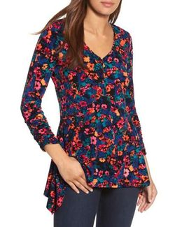 Floral Field Ruched Handkerchief Top