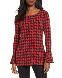 Houndstooth Trumpet Sleeve Top