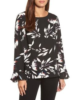 Floral Vision Bell Sleeve Blouse