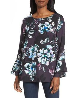 Twilight Blooms Bell Sleeve Blouse