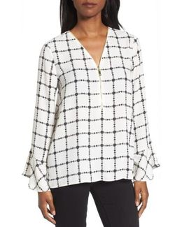 Terrace Plaid Zip Front Blouse