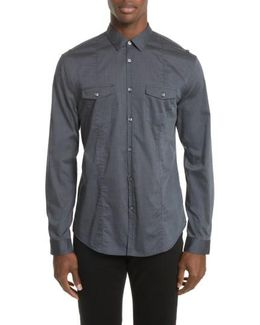 Extra Trim Fit Military Inspired Sport Shirt