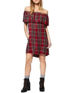Stella Plaid Off The Shoulder Dress