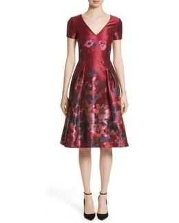 Floral Silk Brocade Fit & Flare Dress