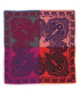 Colorblock Paisley Silk Scarf