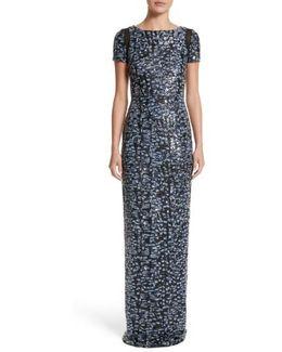 Carmen Marc Valvo Camo Sequin Column Gown