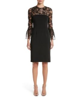 Carmen Marc Valvo Embroidered Lace Bell Sleeve Sheath Dress