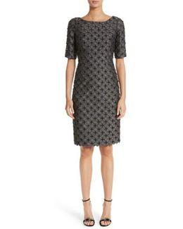 Carmen Marc Valvo Dot Applique Sheath Dress