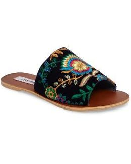 Anne Embroidered Slide Sandal