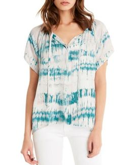 Print Button Front Peasant Top