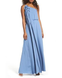 Waterfall Ruffle One-shoulder Gown