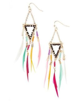 Crystal Feather Shoulder Duster Earrings