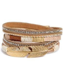 Crystal Feather Wrap Bracelet