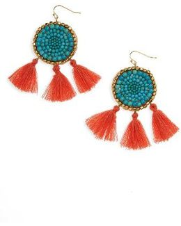 Howlite Medallion Tassel Earrings