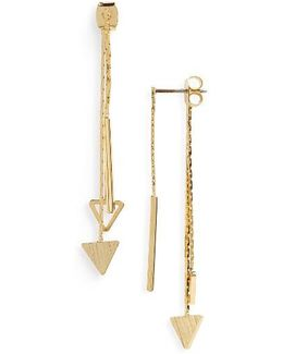 Linear Triangle Drop Back Earrings