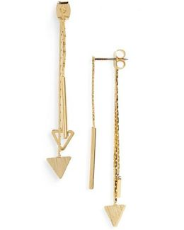 Linear Triangle Drop Back Earrings