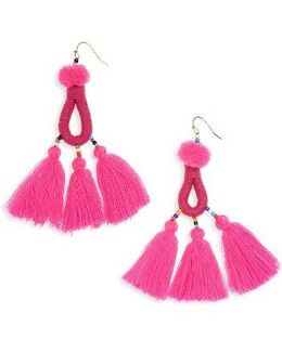 Pompom Tassel Drop Earrings