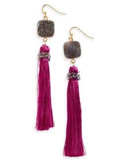 Drusy Tassel Drop Earrings