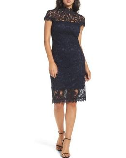 Mock Neck Corded Tulle Sheath Dress