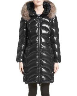 Albizia Down Puffer Coat With Genuine Fox Fur Trim