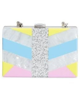 Chevron Stripe Box Clutch - Metallic