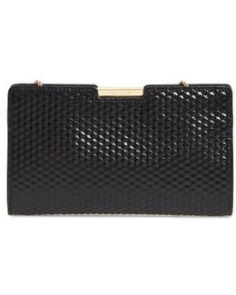 Small Geo Debossed Leather Frame Clutch