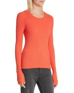 Rib Knit Scoop Neck Sweater