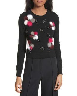 Beaded Wool Sweater With Genuine Rabbit Fur Trim