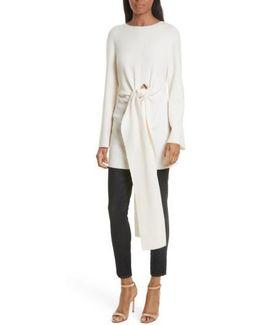 Twist Tie Stretch Wool Sweater Tunic