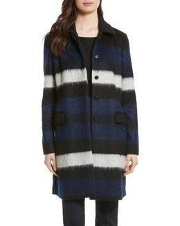 Stripe Wool Blend Coat