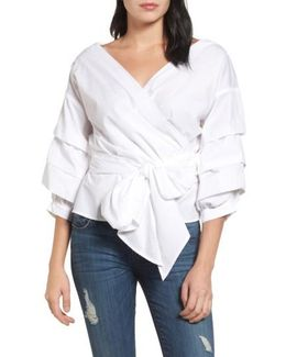 Pleat Sleeve Wrap Blouse