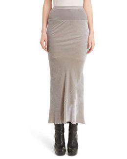 Knit Waist Velvet Skirt