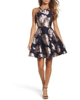 Floral Brocade Fit & Flare Dress