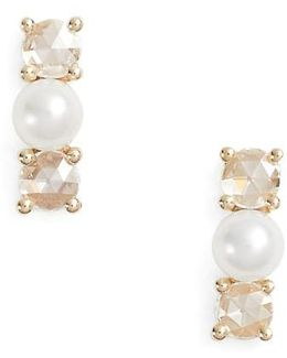Mini Pearl & Diamond Stud Earrings