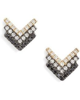 Chevron Diamond Stud Earrings