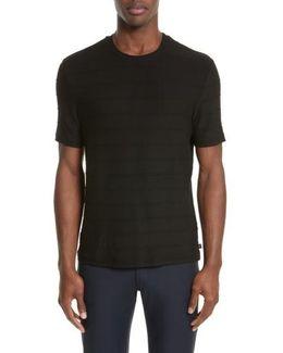 Textured Stripe Crewneck T-shirt