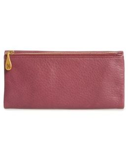 Eagle Calfskin Leather Trifold Wallet - Purple