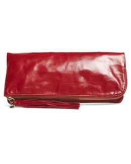 Raine Calfskin Leather Foldover Clutch