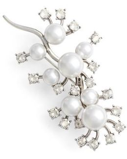 Scattered Imitation Pearl & Crystal Brooch