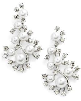 Scattered Imitation Pearl & Crystal Drop Earrings