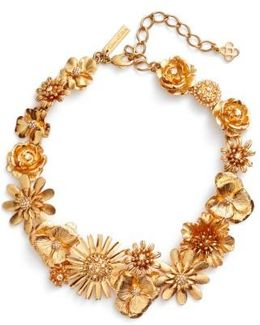 Gilded Floral Collar Necklace