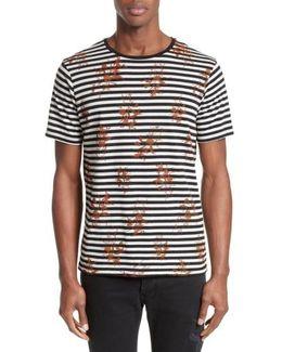Flower Print Stripe Ringer T-shirt